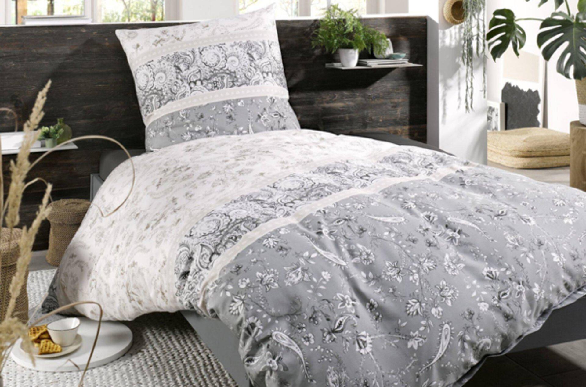 graue Bettwäsche passend zu Pastellfarben