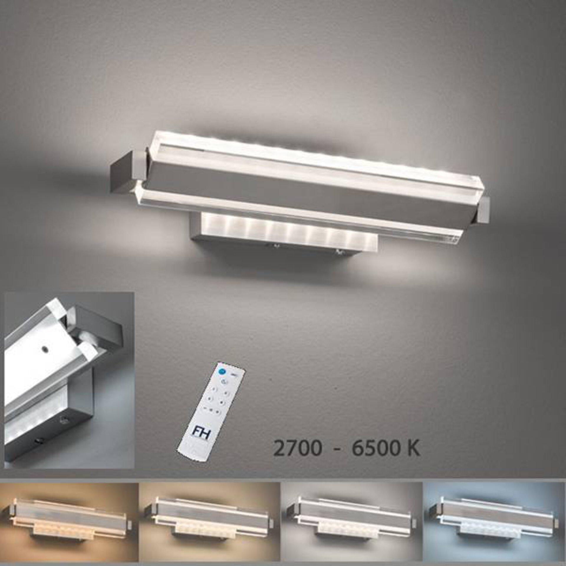 Hauptbild ist eine moderne Wandlampe. Sie strahlt in kaltem Weiß. Darunter vier Abbildungen, die weitere Leuchtfarben zeigen.