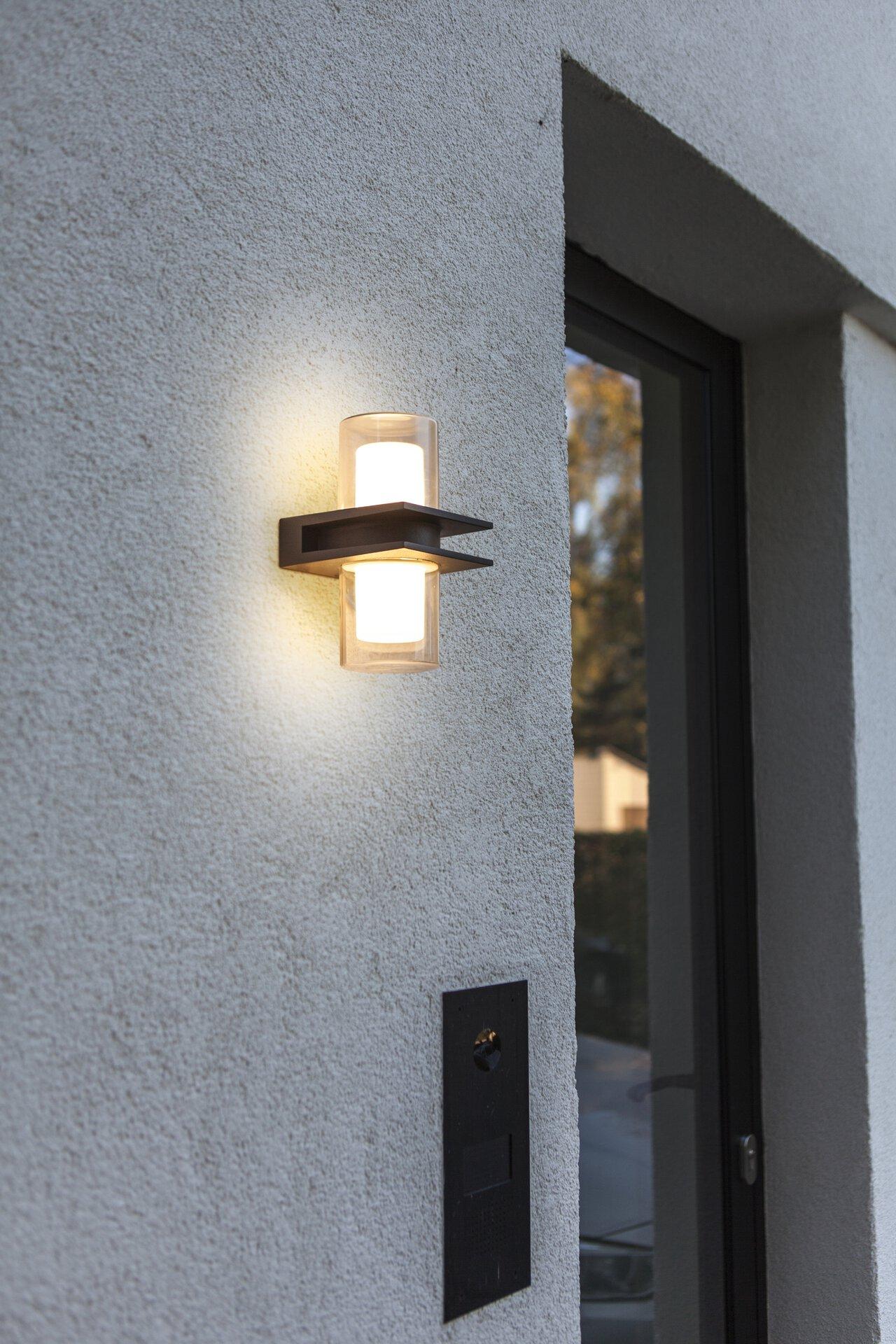 Wand-Aussenleuchte Tango Eco-Light Metall grau 12 x 20 x 12 cm