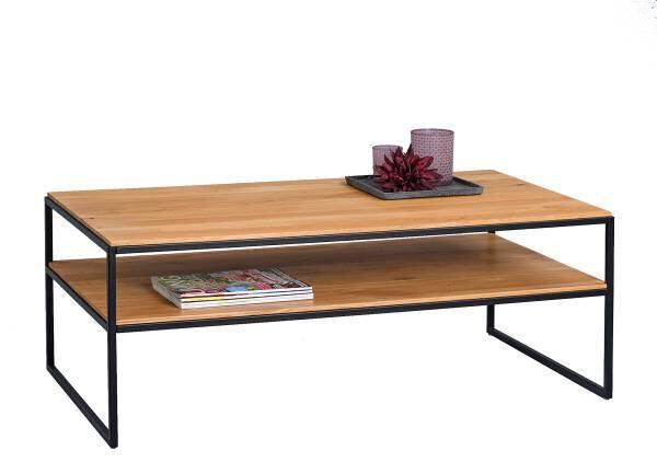 Beistelltisch M2 Kollektion Holz, Metall Wildeiche massiv ca. 60 cm x 42 cm x 110 cm