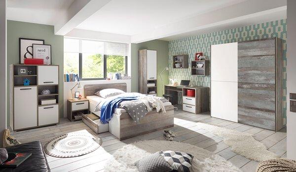 Kinderbett inbuy Holzwerkstoff Driftwood Nachbildung / Weiß ca. 146 cm x 89 cm x 205 cm