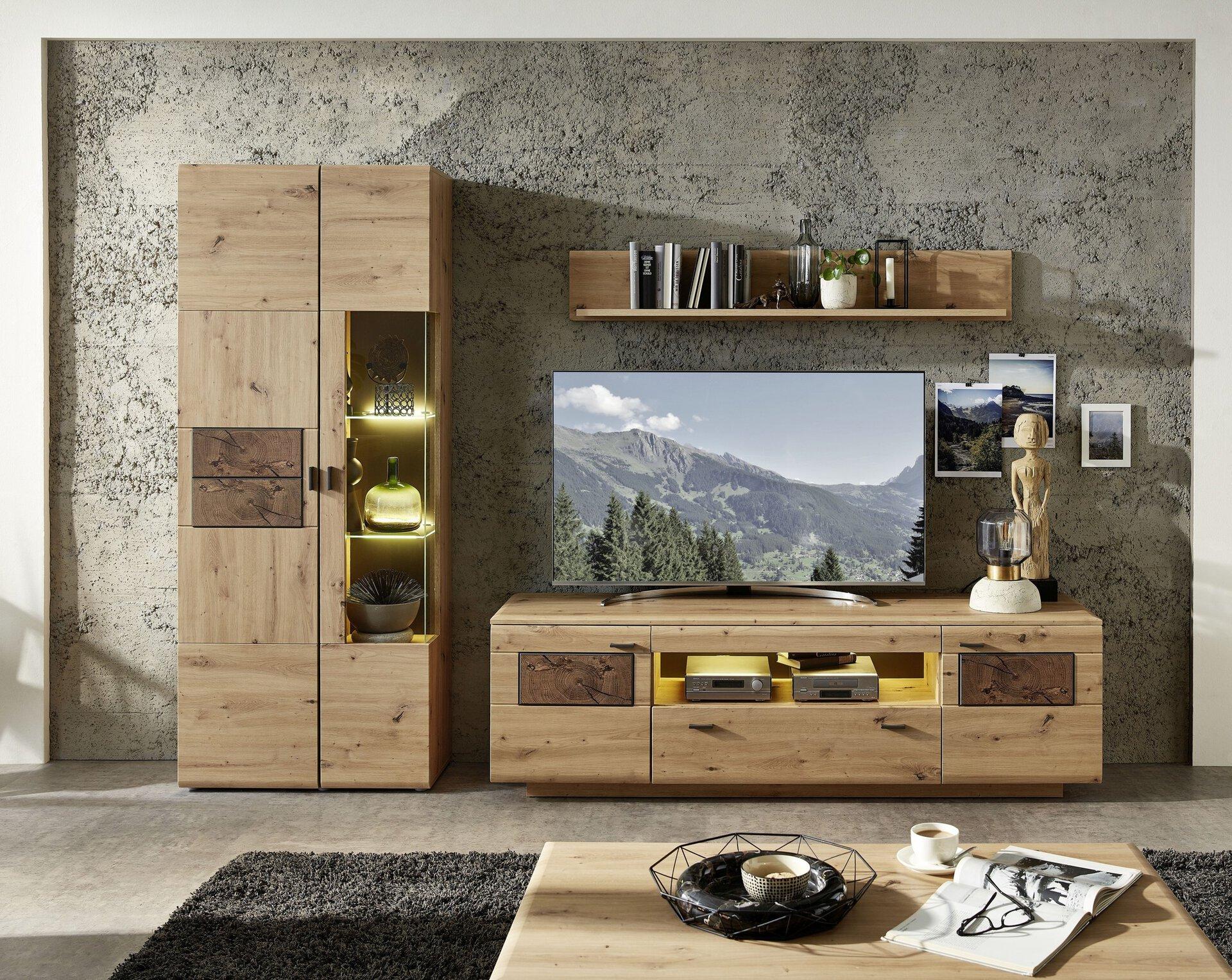 Wohnwand LAVADO Vito Holzwerkstoff braun 47 x 201 x 285 cm