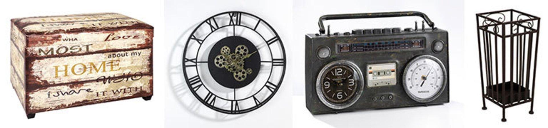 Bildbanner zeigt eine auf alte gemachte Truhe, eine schwarze Uhr mit römischen Ziffernund verschnörkelten Zeigern, eine Uhr in Form eines alten Transistor-Radios und ein eiserner Schirmständer. Alles Accessoires für den perfekten Vintage-Einrichtungsstil.