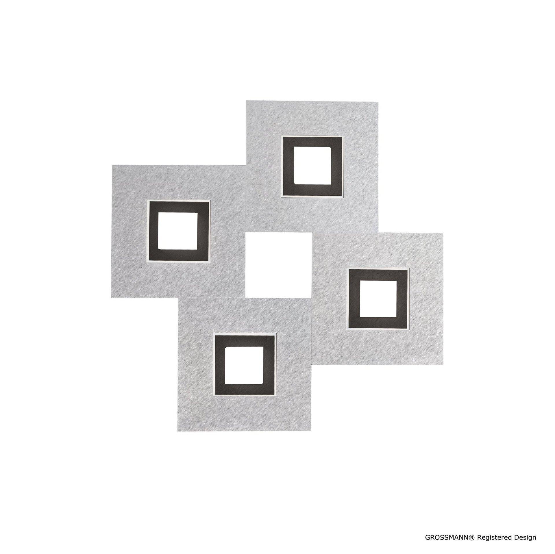 Deckenleuchte karree Grossmann Metall silber 50 x 5 x 50 cm