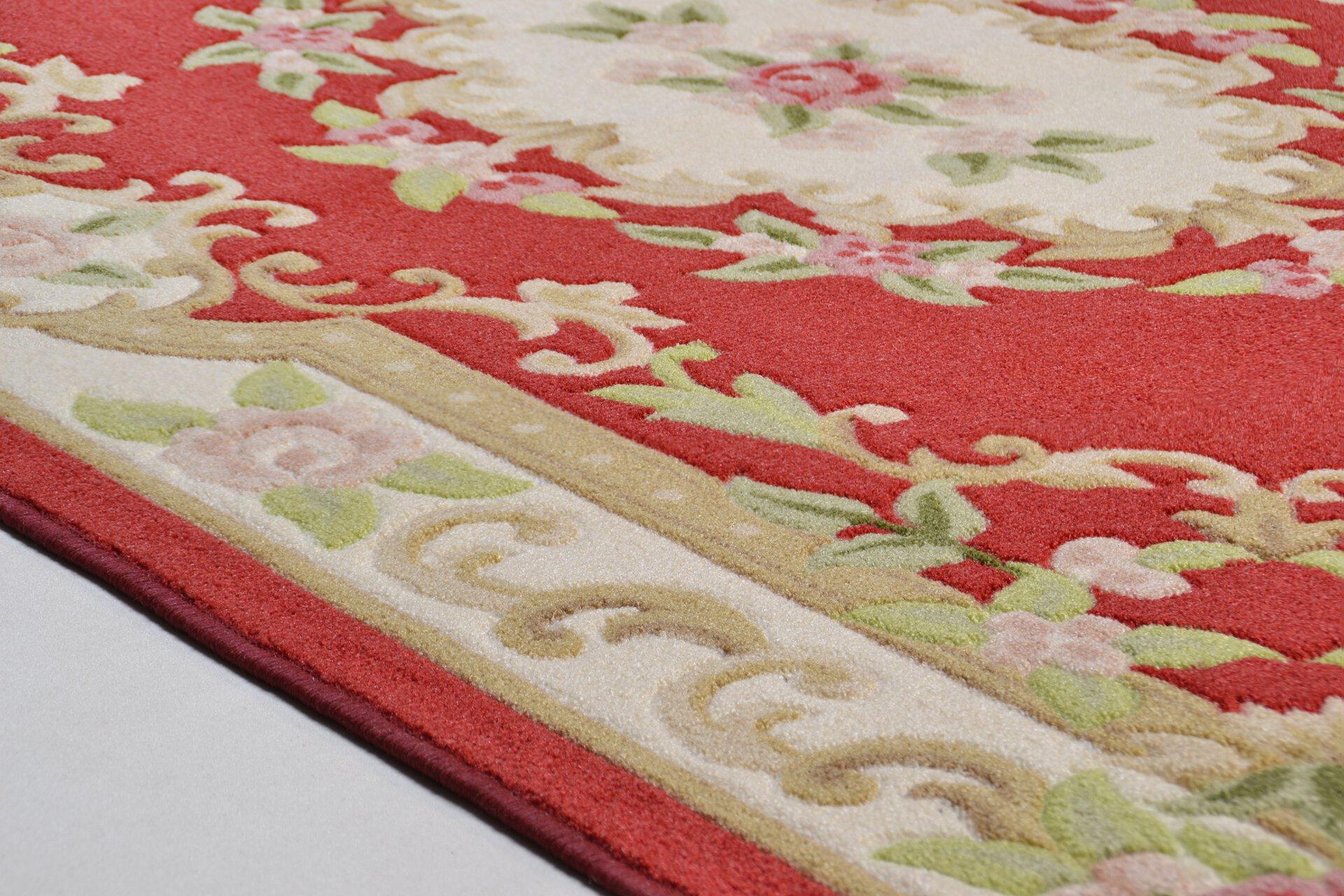 Maschinenwebteppich Versailles Theko Textil rot 1 x 1 cm