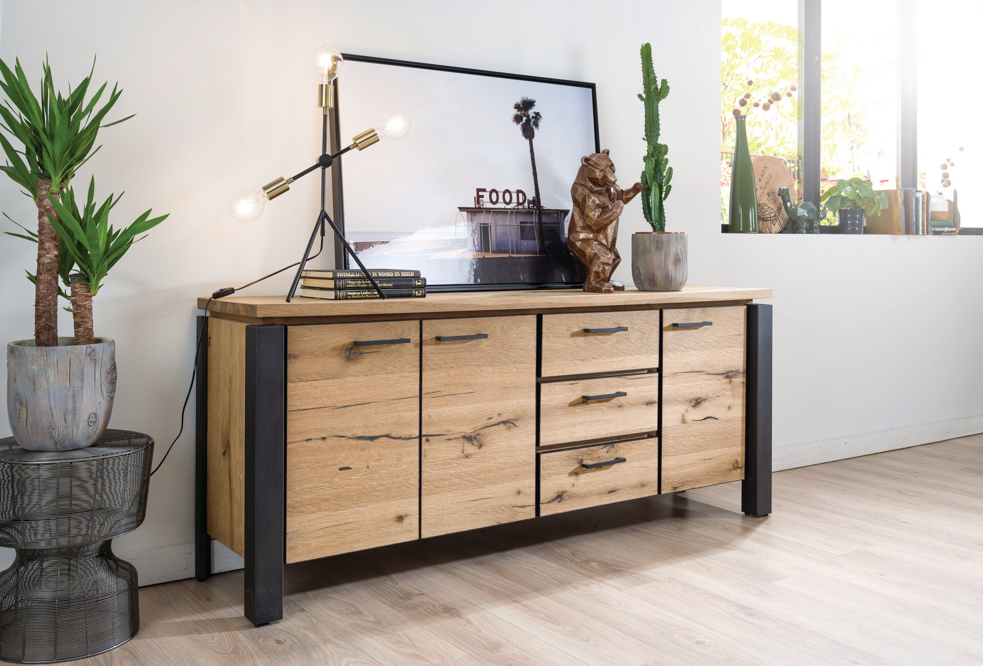 Sideboard SERNO MONDO Holzwerkstoff braun 45 x 80 x 240 cm