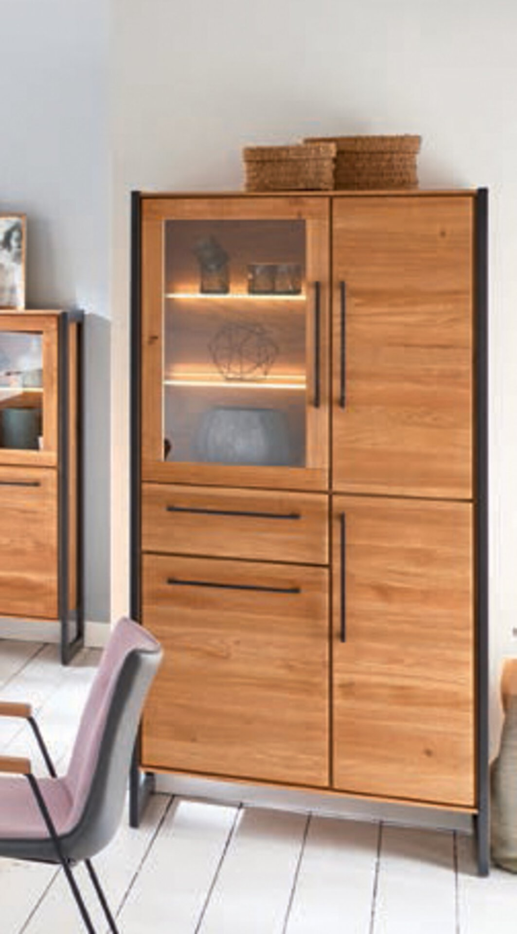 Vitrine NAMUR VALMONDO Holz mehrfarbig 42 x 188 x 93 cm