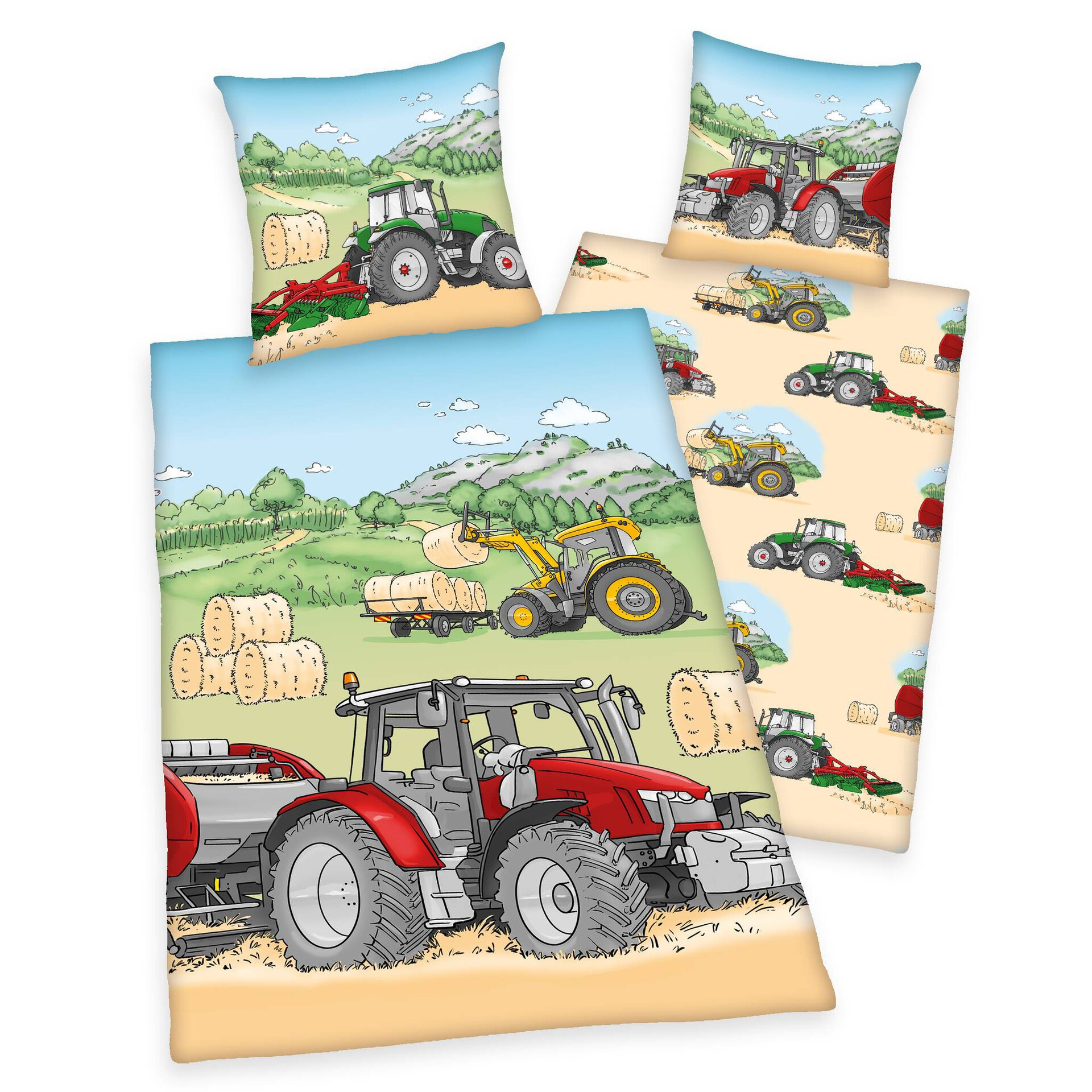 Kinderbettwäsche YoungC. Traktor Klaus Herding Textil mehrfarbig 135 x 200 cm