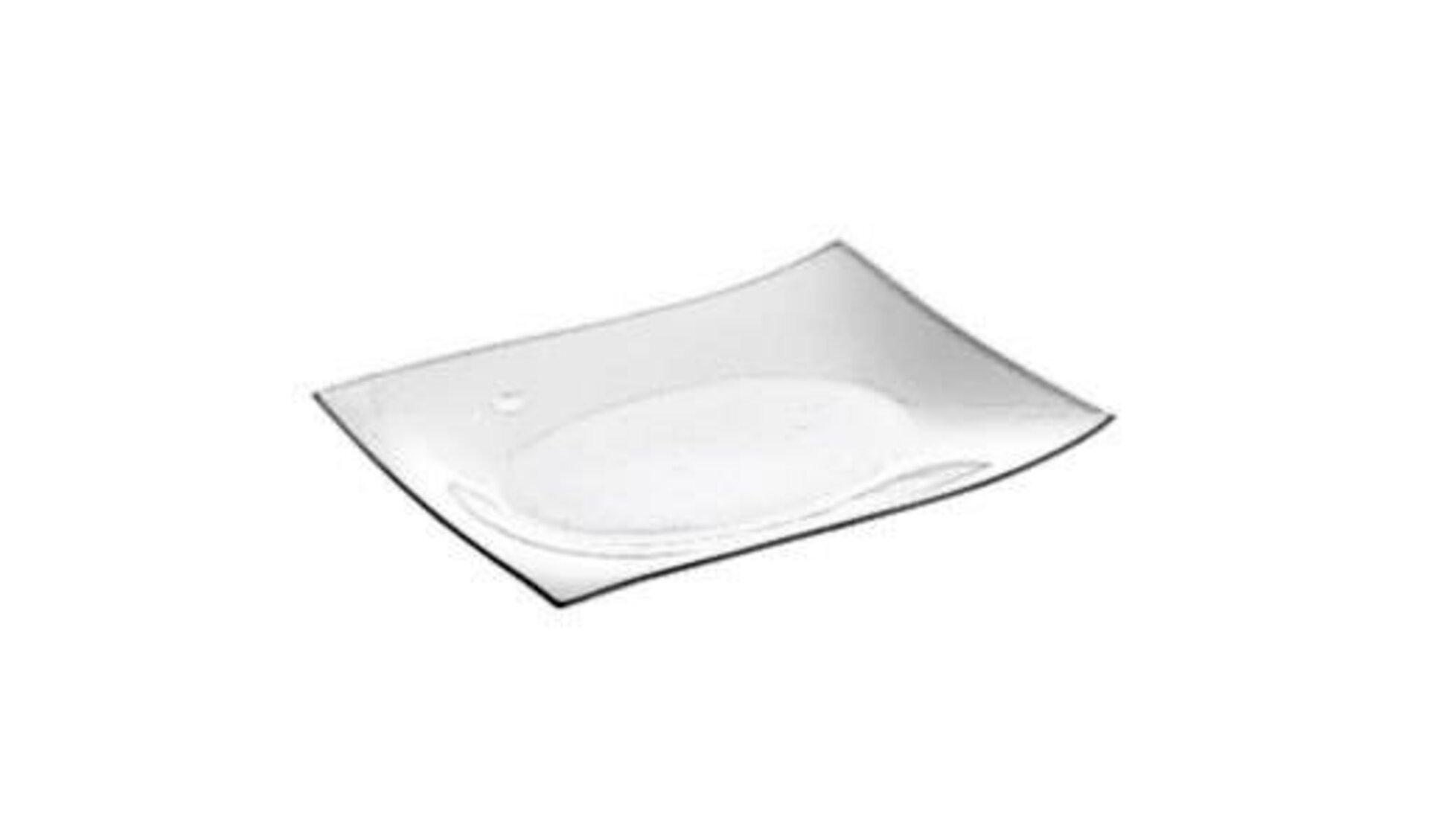 Moderner rechteckiger Teller aus weißem Porzellan steht für alle Teller innerhalb der Produktwelt.