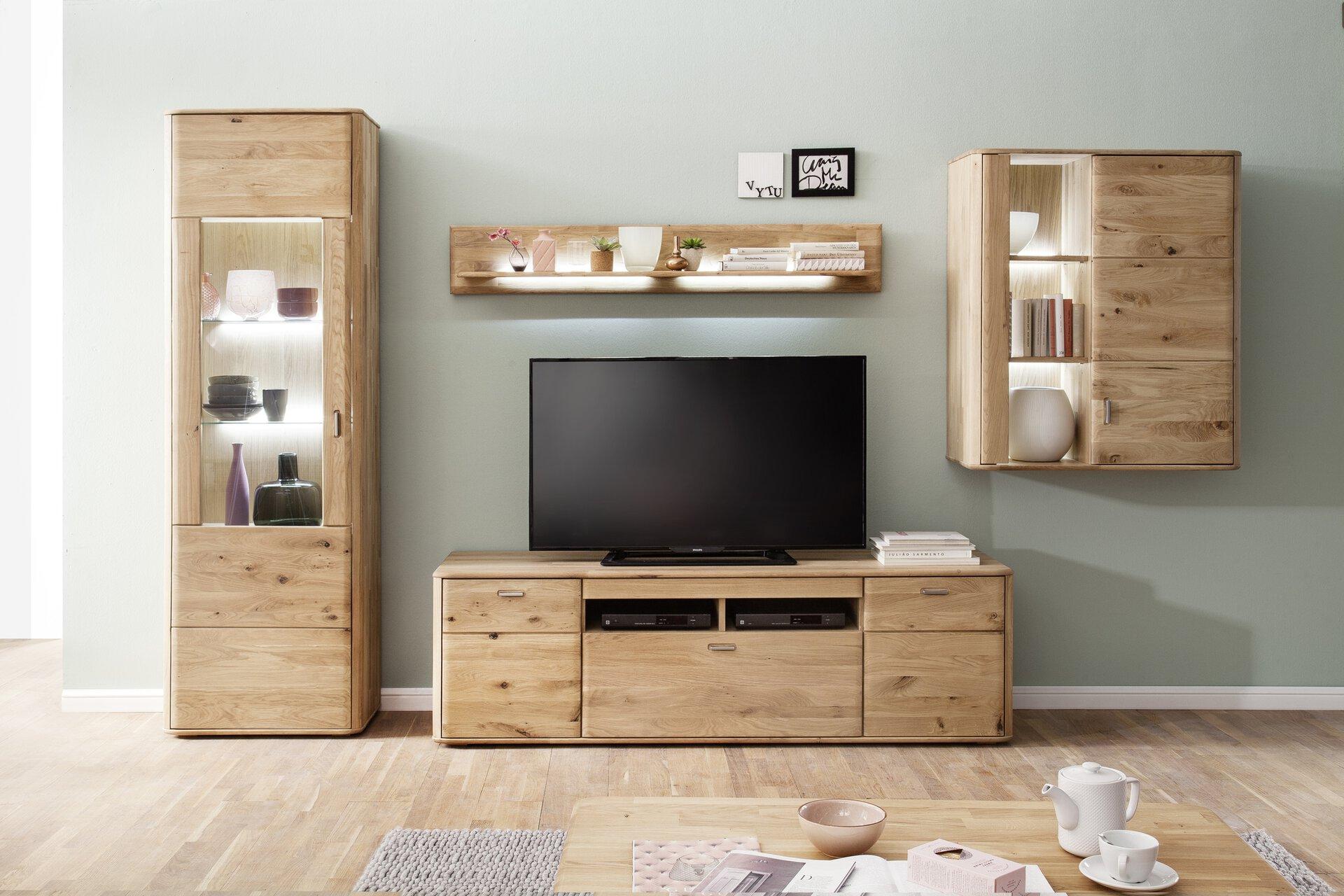 Wohnwand TENTRA VALMONDO VALMONDO Holz braun 50 x 208 x 323 cm