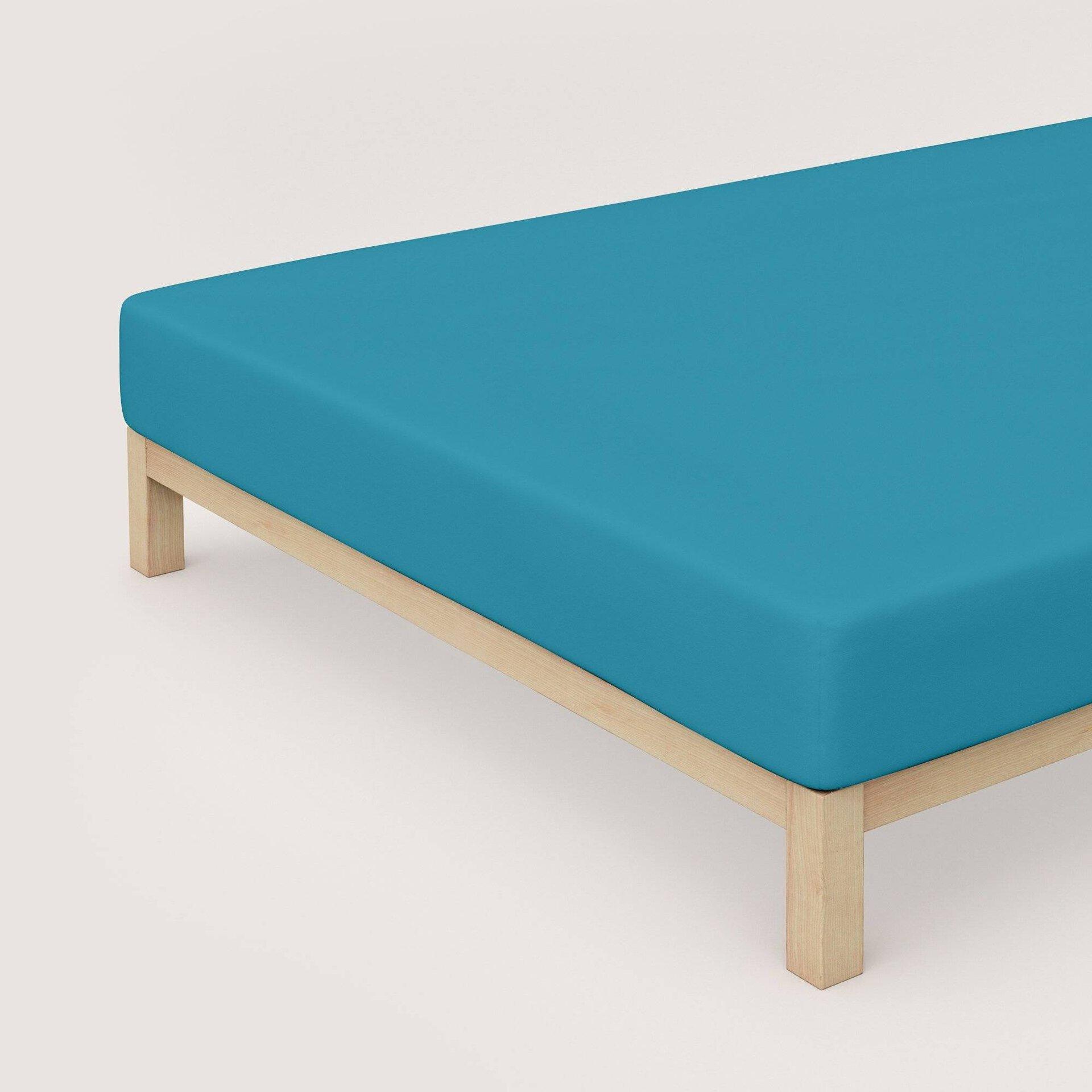 Jersey-Spannbetttuch Schlafgut Textil Blau 100 x 200 cm