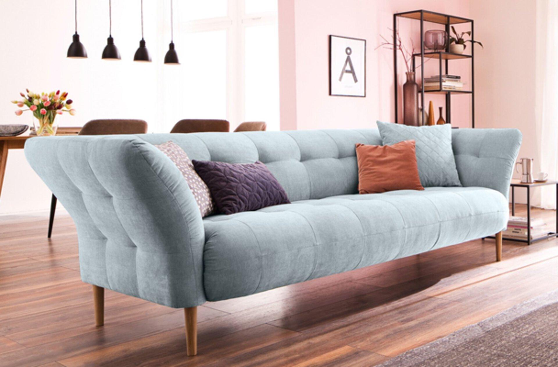 Einzelsofa in hellem Pastellblau