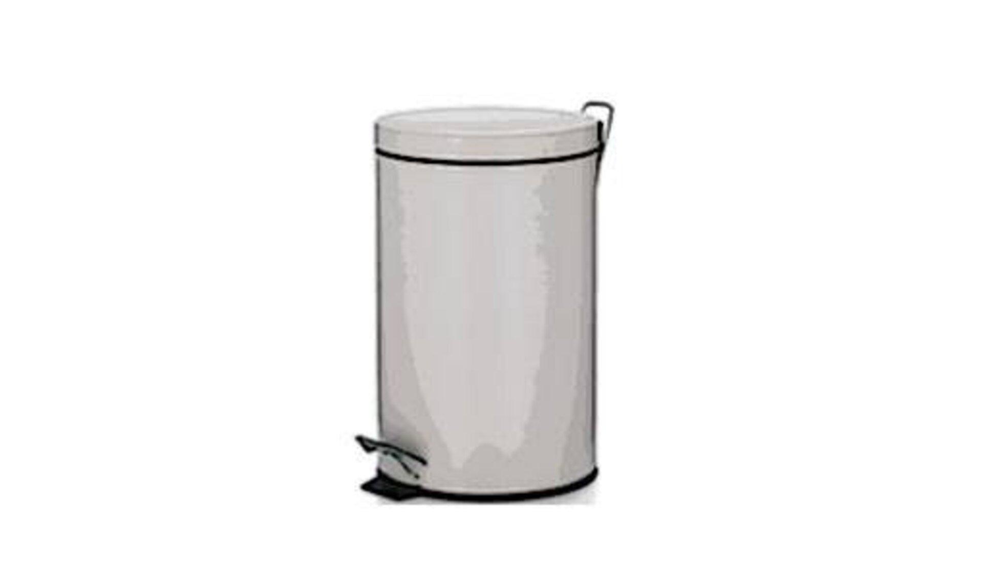 """Die Kategorie """"Mülleimer"""" wird durch einen weißen Treteimer aus weißem Metall dargestellt."""