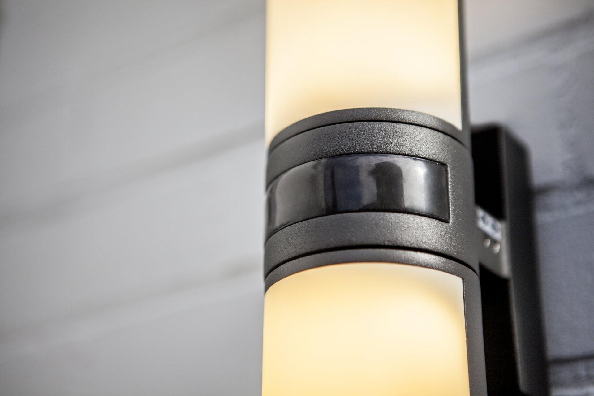 Wand-Aussenleuchte Cyra Eco-Light Metall grau 8 x 25 x 12 cm