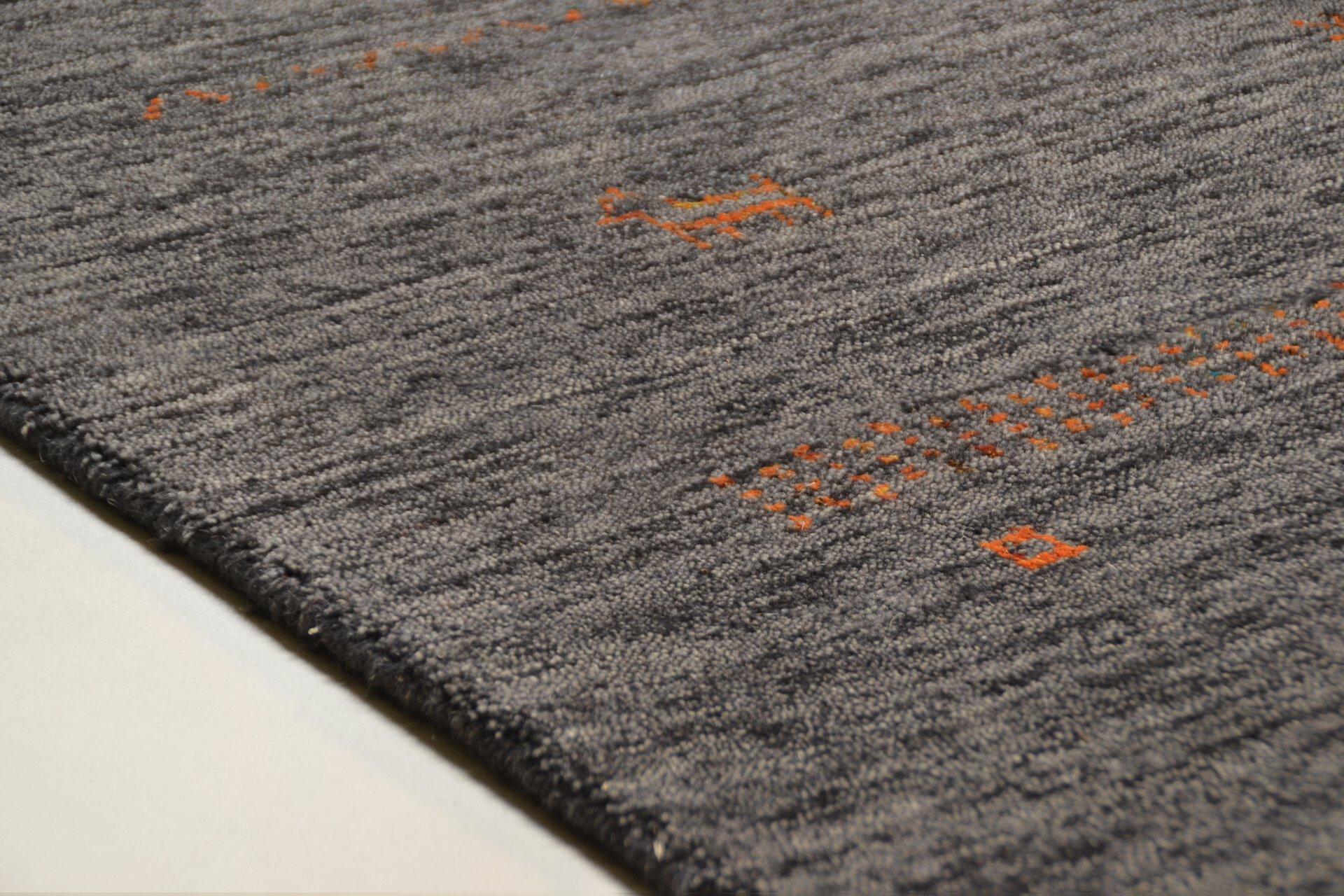 Handwebteppich Nebraska Theko Textil grau 1 x 1 cm