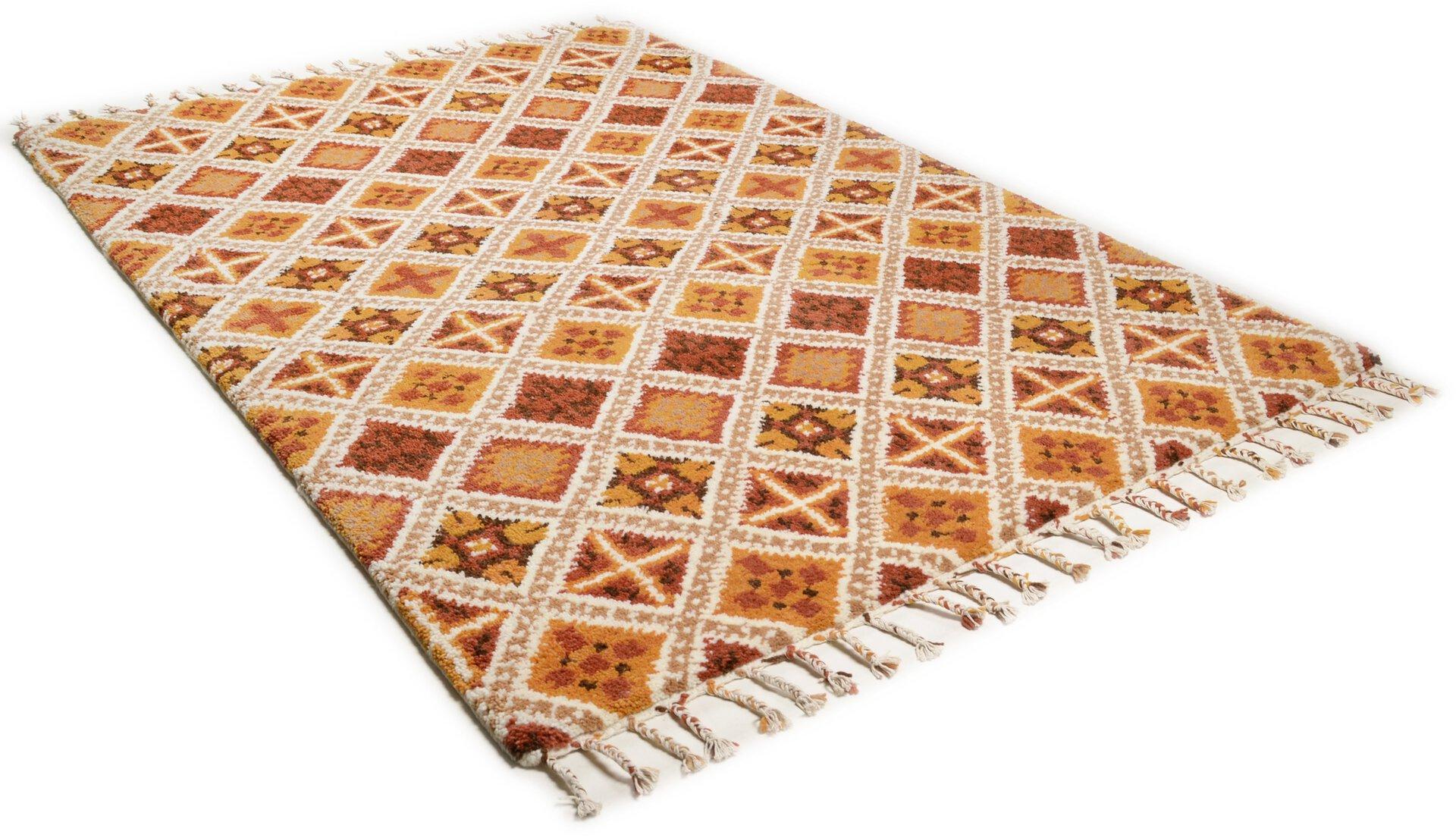 Handknüpfteppich Marmoucha Theko Textil orange 1 x 2 cm