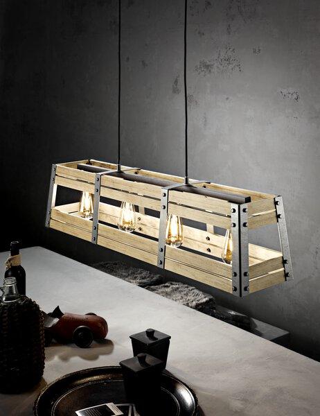 Hängeleuchte Casa Nova Metall holzfrb.-schwarz ca. 100 cm x 129 cm x 20 cm