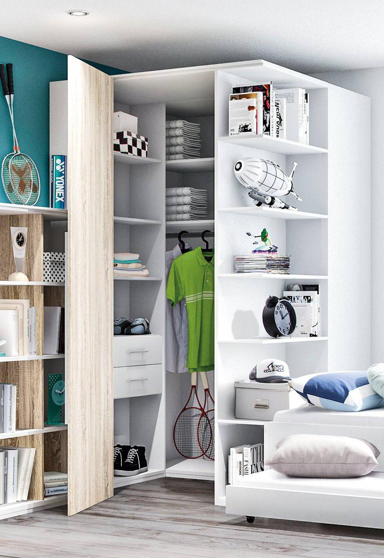 Weißer Eckkleiderschrank als ideale Möbellösung in einem WG-Zimmer