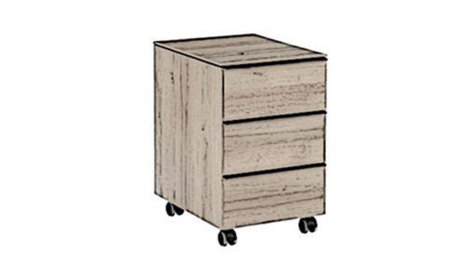 Stilisierter Bürocontainer aus Holz steht sinnbildlich für das praktische Aufbewahrungssystem innerhalb eines Arbeitszimmers..