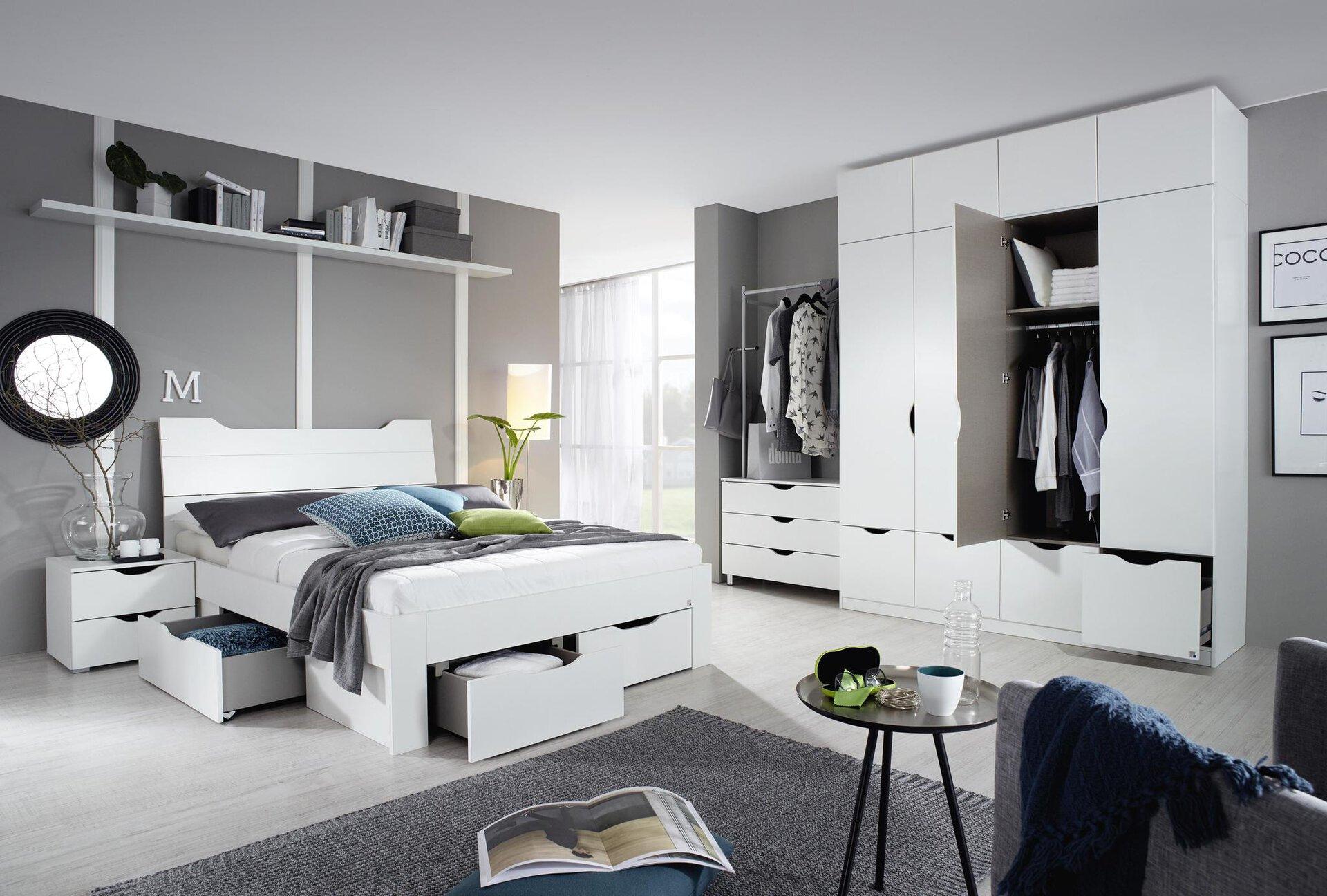 Bettkasten BALIAN SELF Holzwerkstoff weiß 203 x 28 x 140 cm