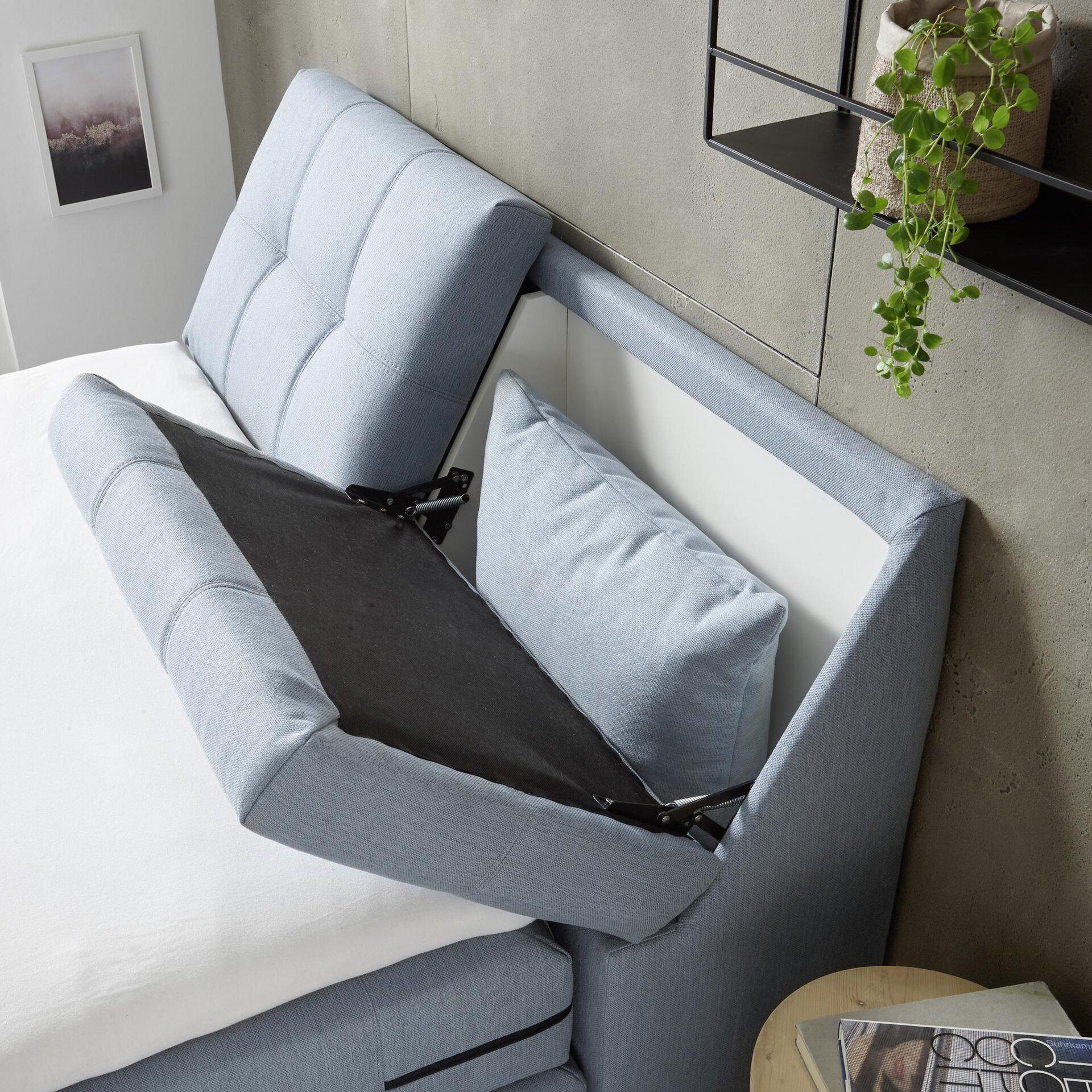 Boxspringbett MEMPHIS set One by Musterring Textil Blau 141 x 105 x 235 cm