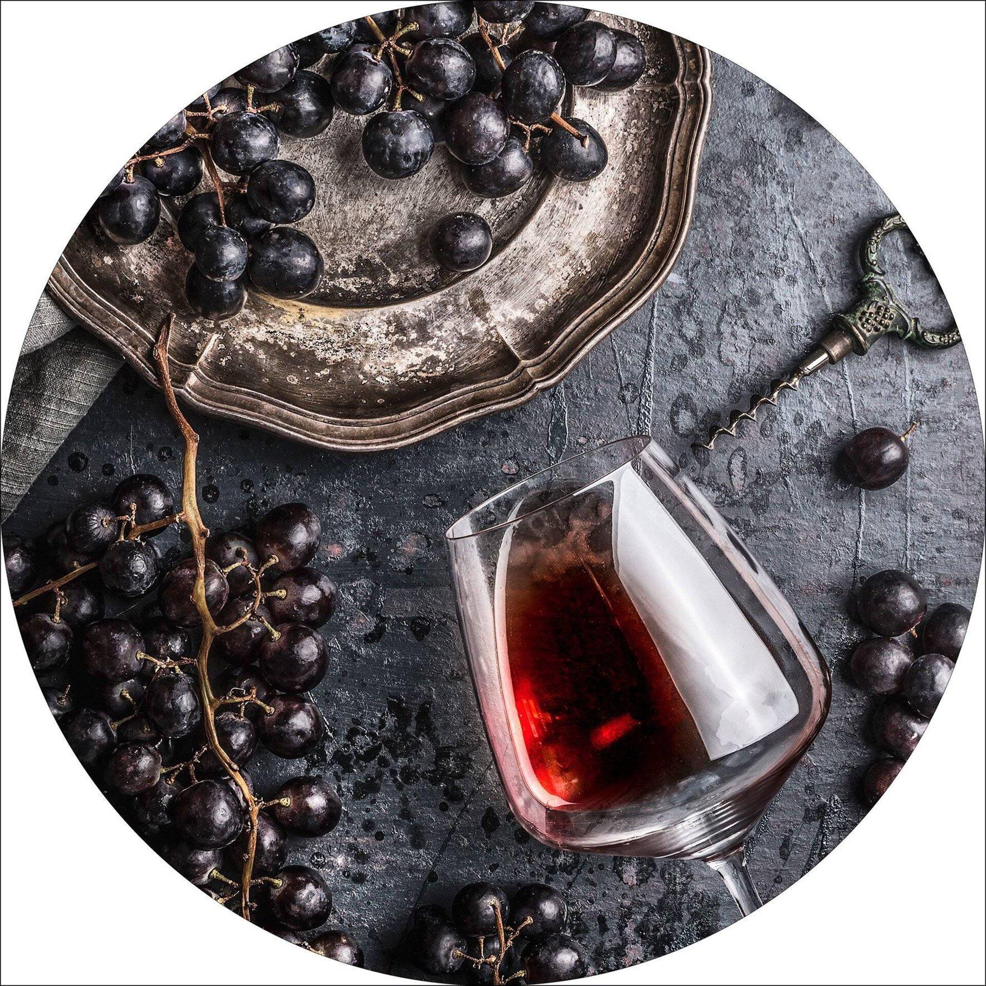 Bild Wein und Trauben Pro-Art Glas mehrfarbig 50 x 50 x 1 cm