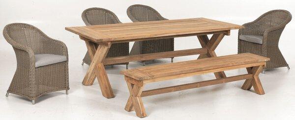 Gartentisch Outdoor Holz braun/ holzfarbig ca. 220 cm x 100 cm x 75 cm