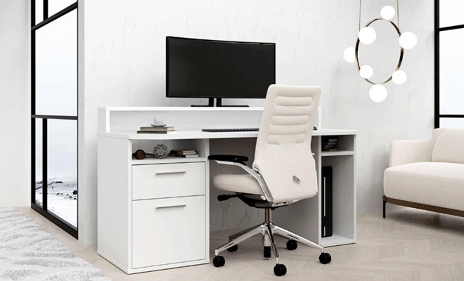 Inspirationsbild für WG-Zimmer zeicht kompakten Computer-Schreibtisch in weiß.