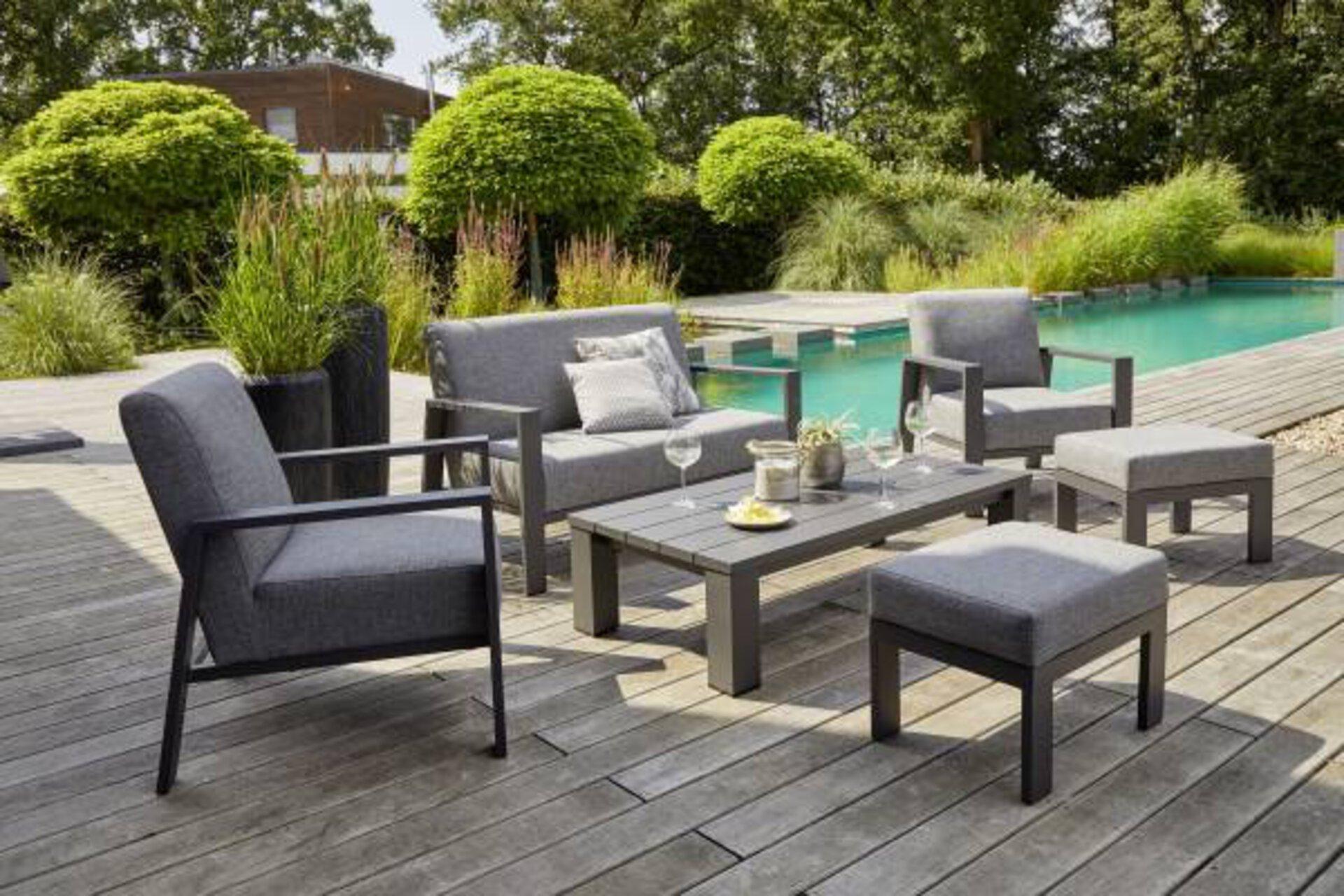 Loungesessel DJERBA Outdoor Textil grau 92 x 79 x 76 cm