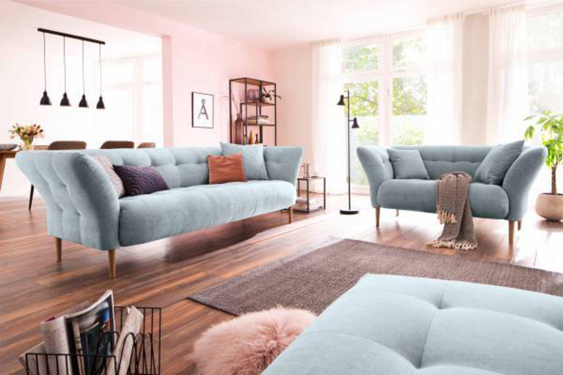 Sofa 2-Sitzer BIG APPLE Couch Lifestyle Textil Blau 97 x 79 x 160 cm
