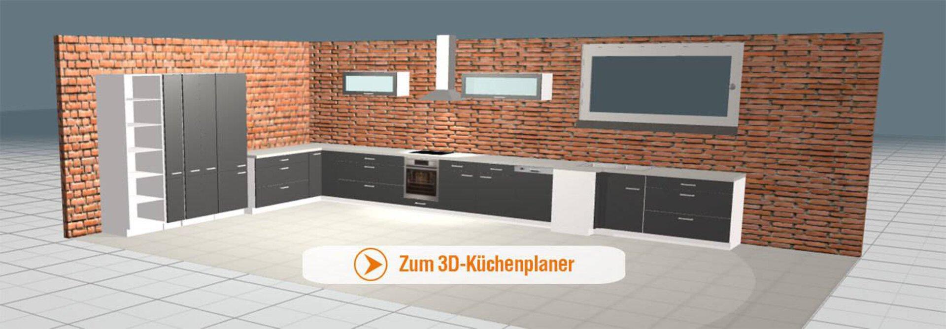 Bannerbild zu 3D-Küchenplaner zeigt eine darin geplante Küche.