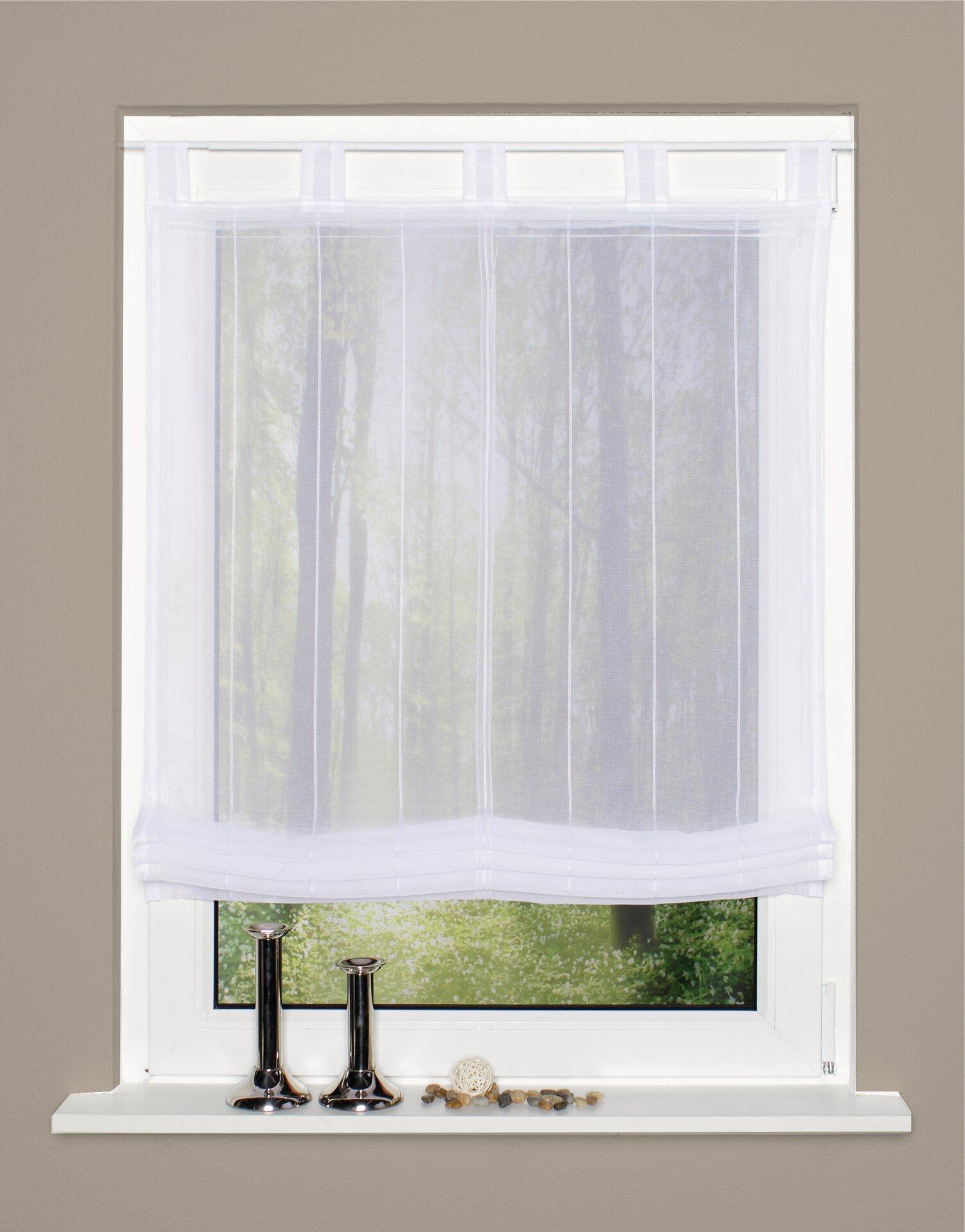 Schlaufenrollo Home Wohnideen Textil weiß 100 x 140 cm