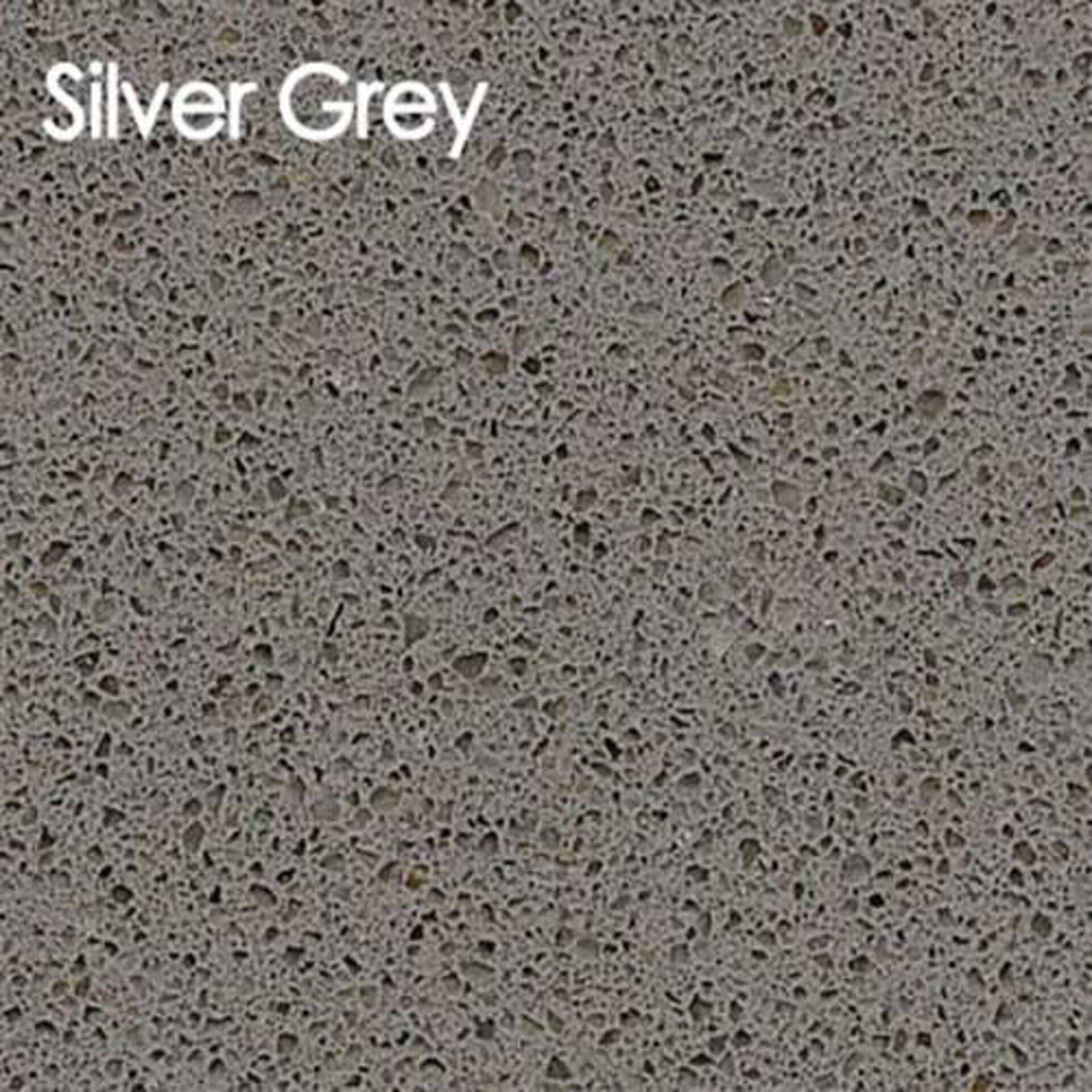 Arbeitsplatte aus Kunststein in der Ausführung Silver Grey.