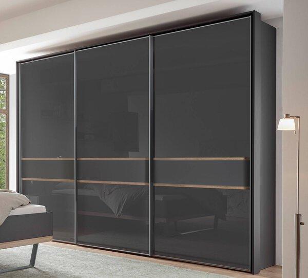 Schwebetürenschrank MONDO Glas, Holzwerkstoff, Metall Mittelband: Dekor Struktureiche natur ca. 68 cm x 222 cm x 280 cm