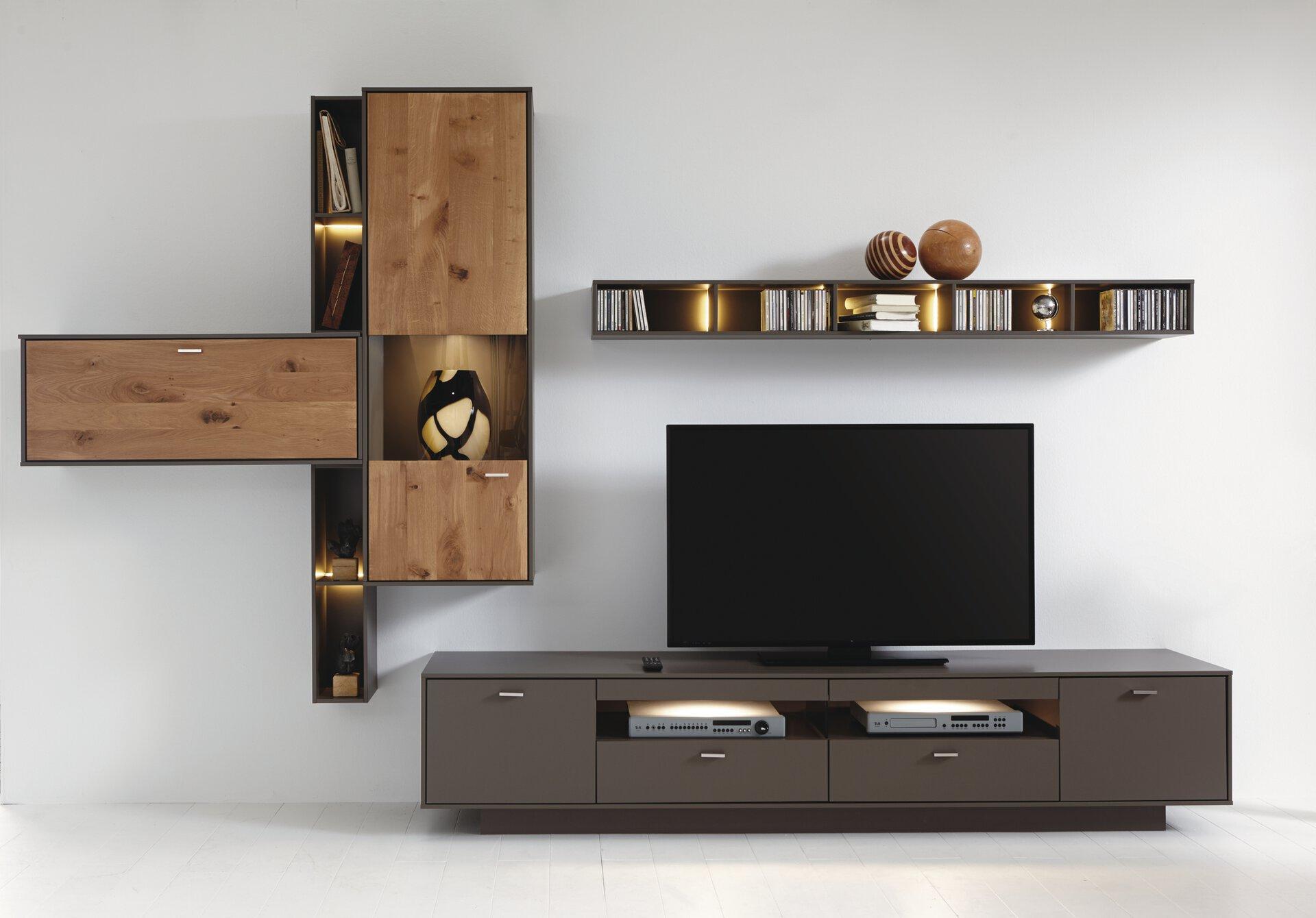 Wohnwand CAVA MONDO Holzwerkstoff braun 56 x 214 x 343 cm