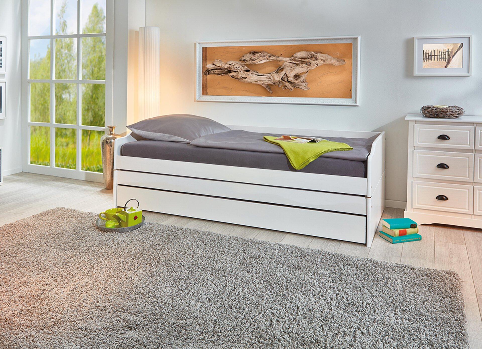 Kinderbett LOTAR Dreamoro Holz weiß 209 x 65 x 97 cm