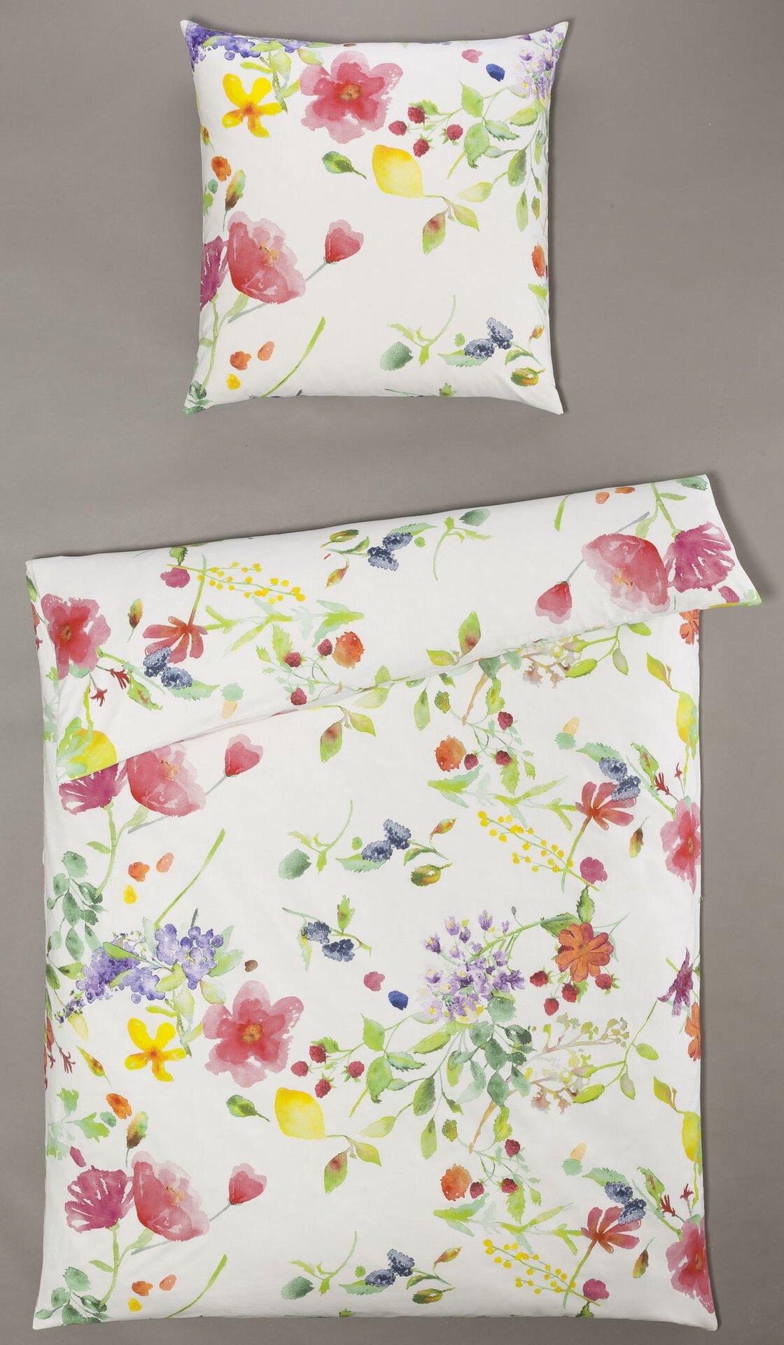 Renforce-Bettwäsche Anette Blumenwiese Casa Nova Textil weiß 135 x 200 cm