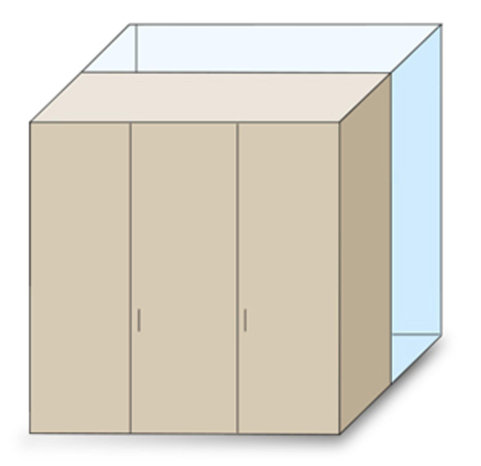 Zeichnung maßgeschneidertes Schranksystem - Tiefenkürzung