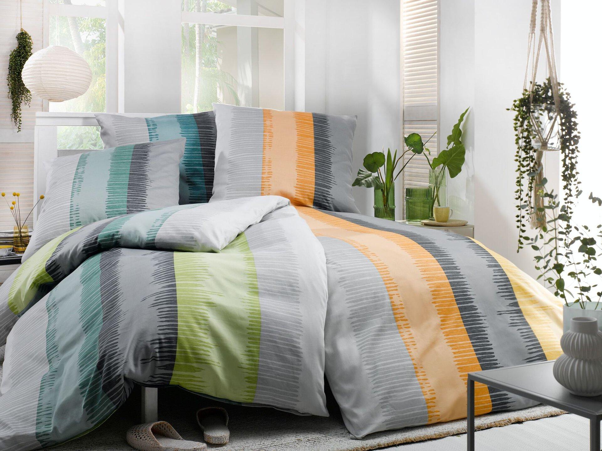 Satin-Bettwäsche Geoline Casa Nova Textil grün 135 x 200 x 200 cm