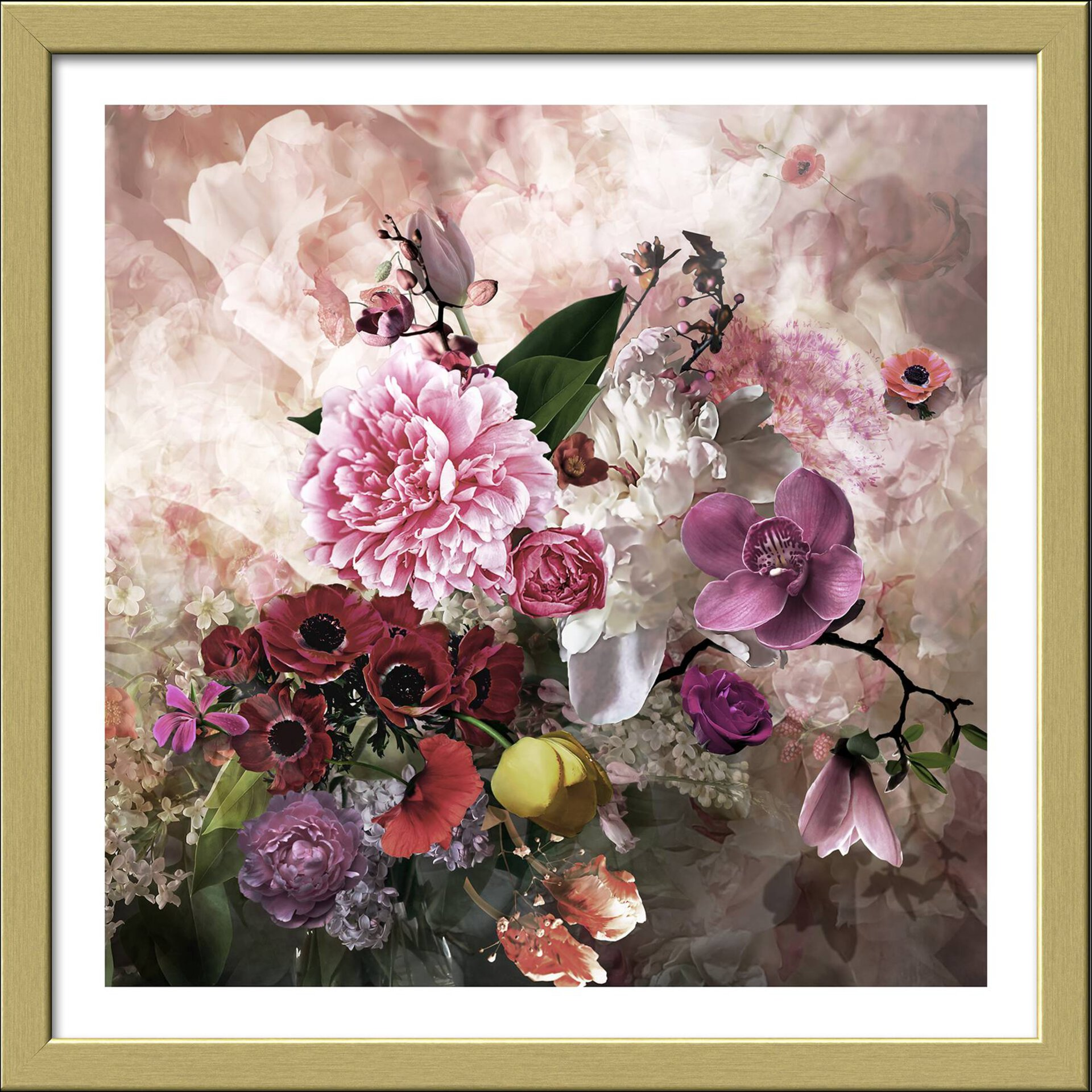 Bild Baroque Flowermix II Pro-Art Papier mehrfarbig 32 x 32 x 2 cm