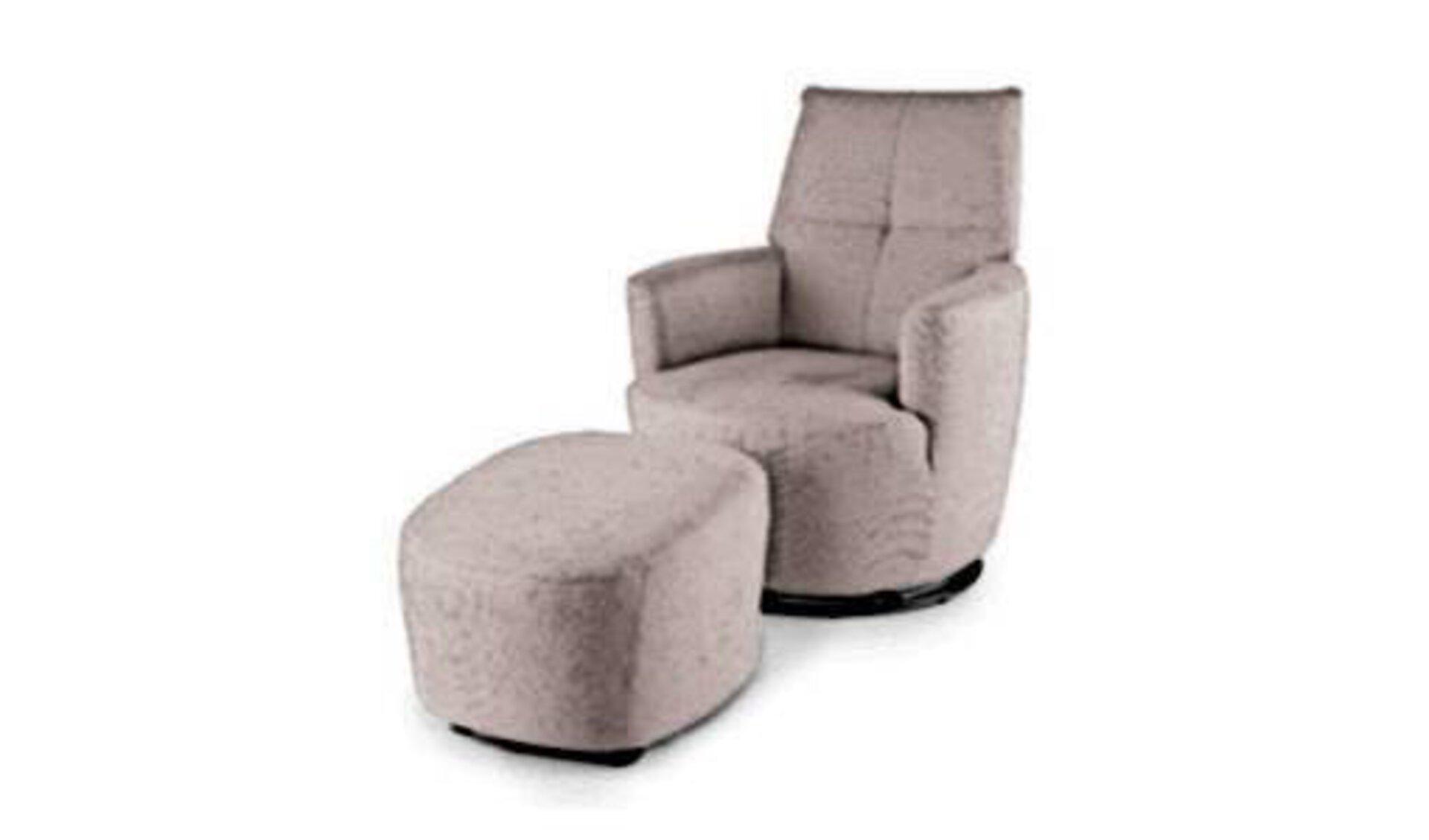 Ein mit Samt überzogener schmaler Sessel und davor ein Hocker im gleichen Stiel stehen für alle Sessel und Hocker innerhalb der Kategorie.