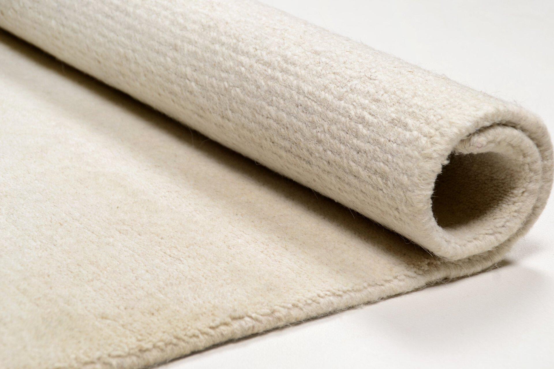Handknüpfteppich Natpur Theko Textil weiß 1 x 1 cm