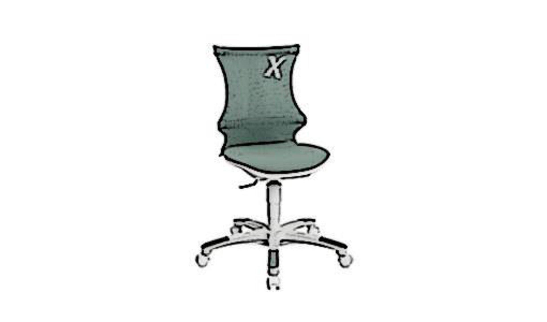 Icon für Kinderdrehstuhl zeigt einen kindgerechten Schreibtischstuhl in graugrüner Farbe.