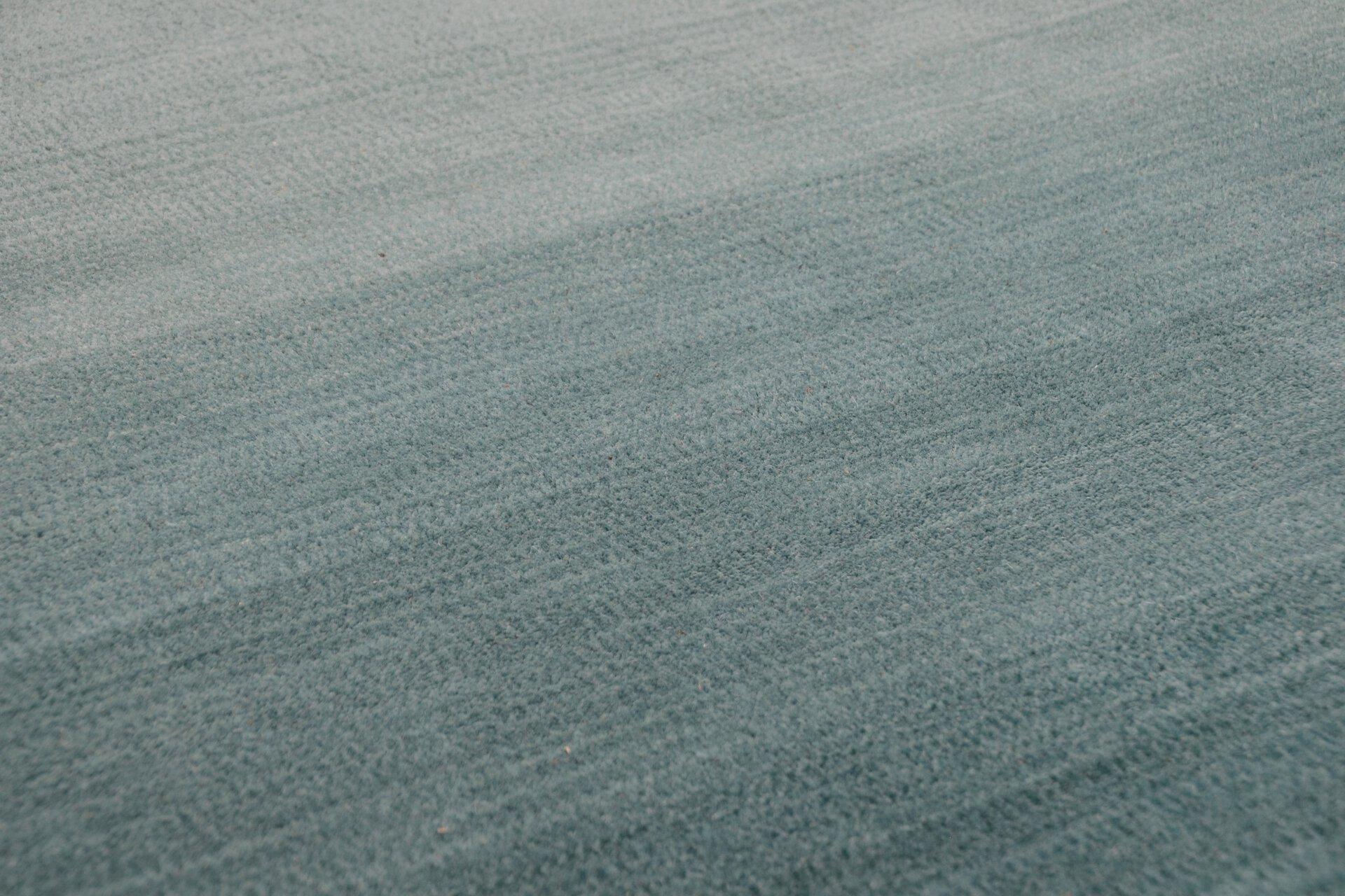 Handwebteppich Wool Star Theko Textil Blau 1 cm