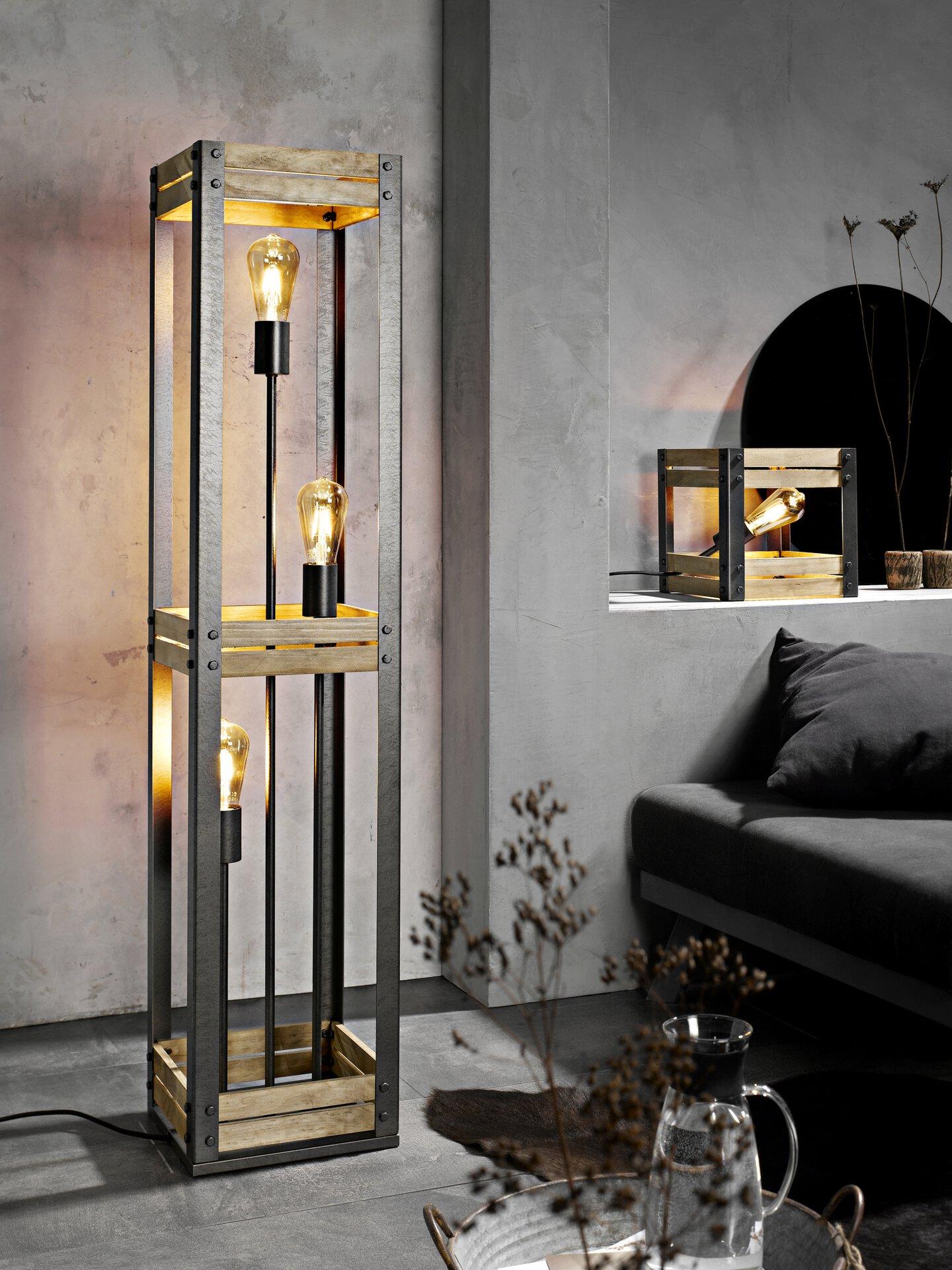Stehleuchte Antik Casa Nova Metall schwarz 25 x 120 x 25 cm