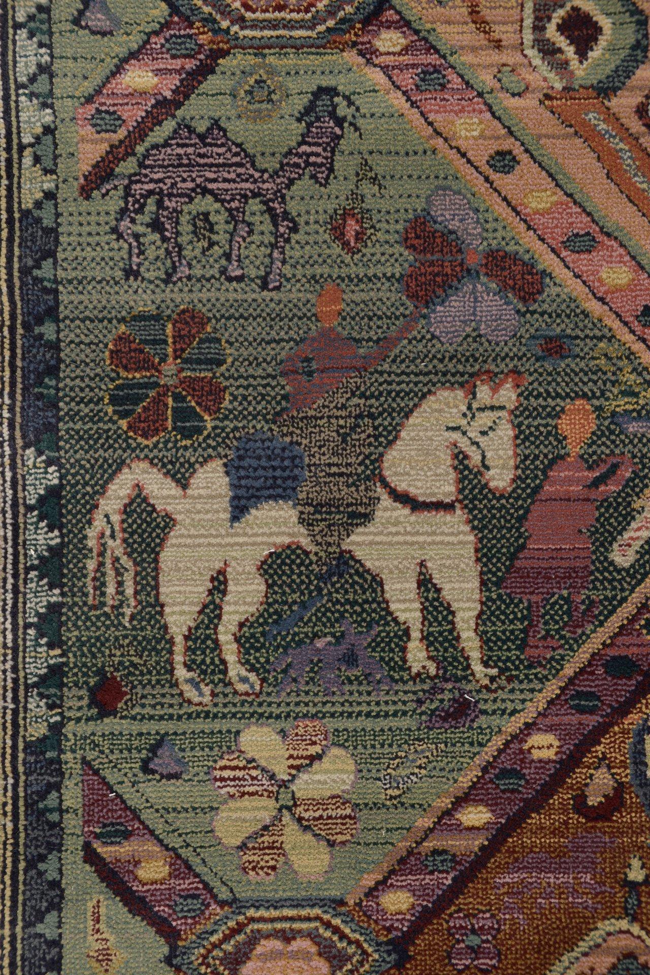 Maschinenwebteppich Gabiro Theko Textil grün 90 x 160 cm