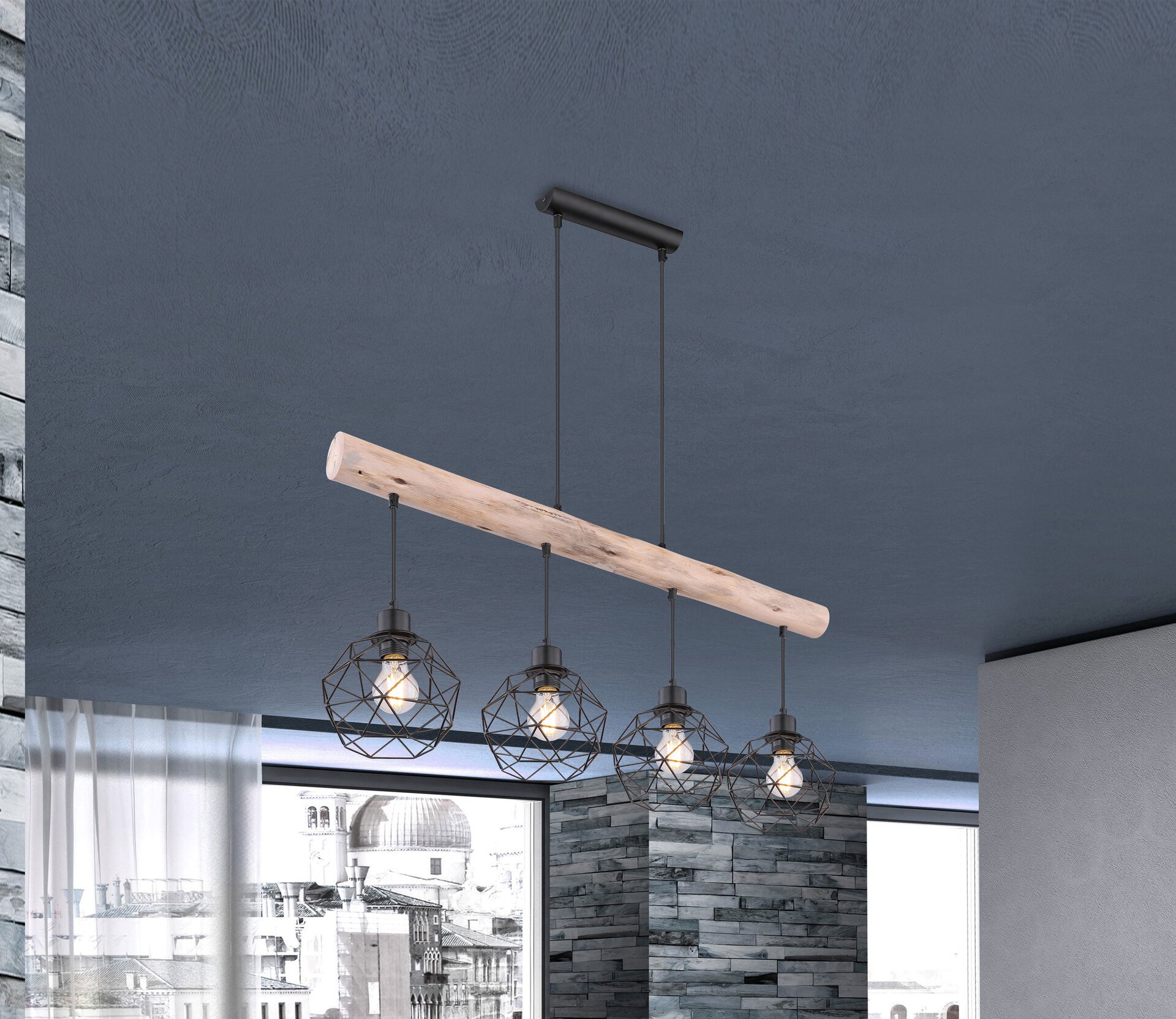 Hängeleuchte THEODOR Globo Holz 18 x 120 x 85 cm