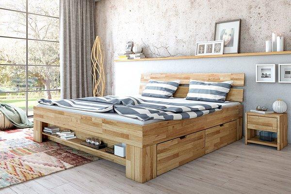 Bett Dreamoro Holz Wildeiche massiv geölt ca. 215 cm x 88 cm x 185 cm