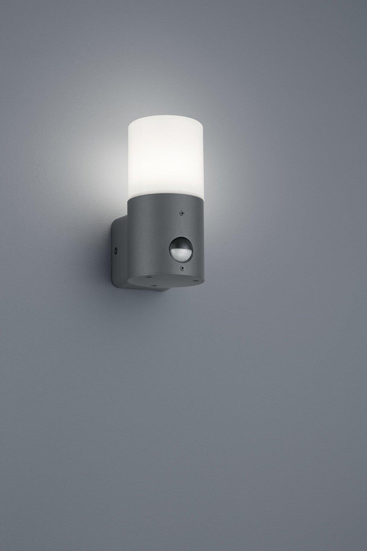 Wand-Aussenleuchte Hoosic Trio Leuchten Metall grau 9 x 18 x 12 cm