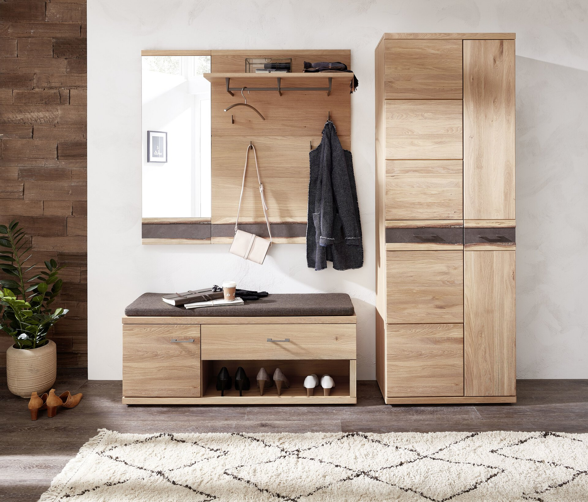 Garderobenkombination Crusty Wohn-Concept Holzwerkstoff braun